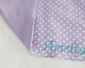 Custom Embroidered Purple Dot Flannel Baby Blanket - name can be white, teal or your color choice