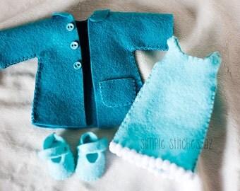 "Custom World Traveler Outfit for 10"", 15"" or 20"" doll - Dress-up Doll Clothes - World Traveler doll clothes - Gingermelon Pattern"