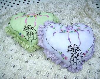Vintage Scottie Scotty Dog Embroidered Pillows Pair Net Lace Trim