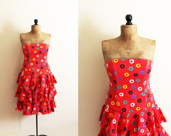 vintage dress 1980's party strapless red womens clothing tiered ruffle primary colors novelty print size s m small medium 8