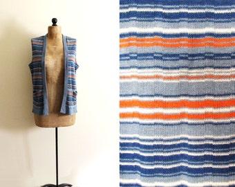 vintage sweater vest 1970s cardigan retro striped blue orange clothing size medium m