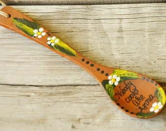 "Vintage 70s Handpainted Wooden Spoon With Name ""Anna"" /Retro/Country Style/Farmhouse Kitchen/Bohemian Chic/Hippie"
