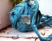 Sari Silk Recycled Ribbon in a Caribbean Blue Turquoise