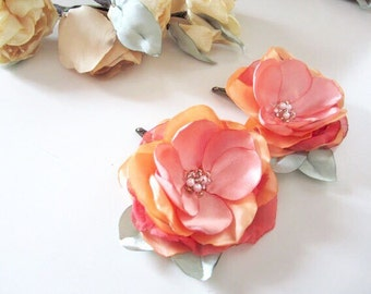 Coral Hues Satin Flower clips bridesmaid gift weddings party, Spring hair pins, shoe clips