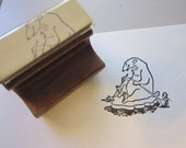 vintage rubber stamp - POLAR BEAR paddling on ice