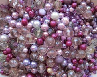 vintage bead mix - PURPLE mix - 2.75 cups, vintage beads - vintage plastic beads, salvaged beads