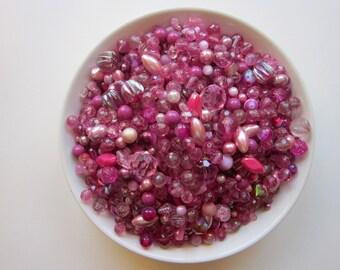 vintage bead mix - DARK PINK mix - 4 cups, vintage beads - vintage plastic beads, salvaged beads