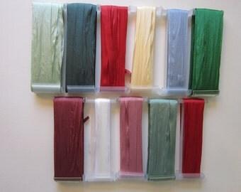 YLI silk ribbon - 60+ yards pure SILK ribbon for ribbon embroidery - 7mm assortment - partial spools