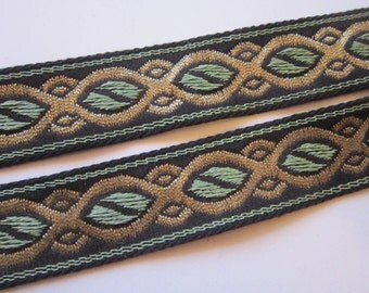 vintage woven ribbon bty - Europa Imports - made in Germany - cotton rayon Lurex - 7/8 inch