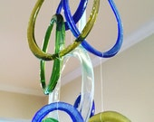 Wine-O Wind Chime, Recycled Glass Wind Chime - custom order for Marianne
