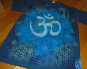 XL OM Vibration Hand Painted Sacred Geometry T-Shirt. Organic Chakra Tee w/ OHM, Flower of Life, Honeycomb, Metatron's Cube