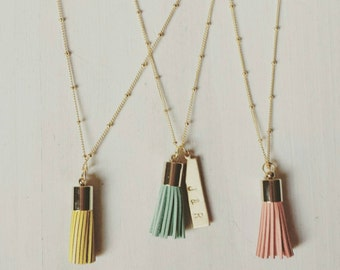 Tassel pendant necklace with personalized brass bar in coral, long layering necklace
