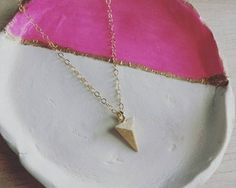 Triangle point necklace on gold filled chain, edgy modern layering jewelry