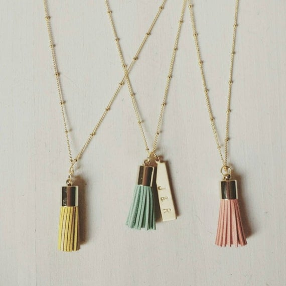 Tassel Pendant Necklace with Personalized Brass Bar