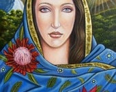 Tahnja Original Art Oil Painting Virgin Mary Australia Icon Religious Catholic Landscape Sunset Australian