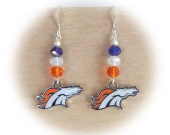 Denver Broncos Earrings, Bronco Bling Earrings, Blue/Orange Crystal Earrings, Women Denver Bronco Gift, Pro Football Bling Accessory