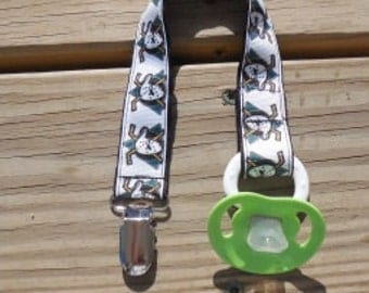 Pacifier Holder Anaheim Ducks Ribbon Soothie Holder or Clip Sports Pacifier Holder