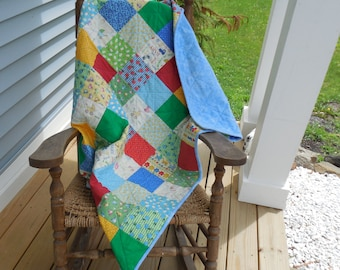 Baby Quilt Baby Boy Crib Size Flannel and Cotton Quilt Handmade Shower or Newborn Gift