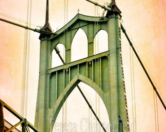 St Johns Bridge, Portland Photography, Black and White Photography, PDX Wall Art, Urban Bridge Photo Print, Color Bridge Artwork On Canvas
