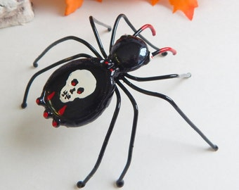 Handmade Halloween Large Black Spider with Skull on Back
