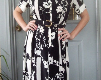 Vintage Leslie Belle Canada - Black and White Shirt Dress Dynamic Print Pristine Vintage 1970 1980 Elbow Sleeves Medium Size 10 Free Ship
