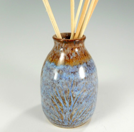 Ceramic reed diffuser, pottery reed diffuser, stoneware bud vase pot, ceramic oil diffuser, pottery oil diffuser, blue gray and brown
