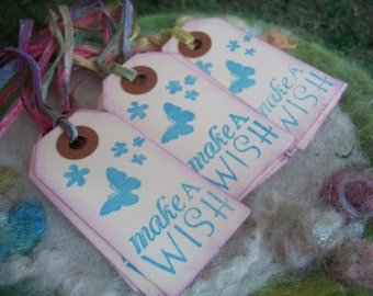 Wish Gift Tags Magical Fairytale Gift Tags, Bag Tag or Box Label Make a Wish Hand Stamped Party bag Tags