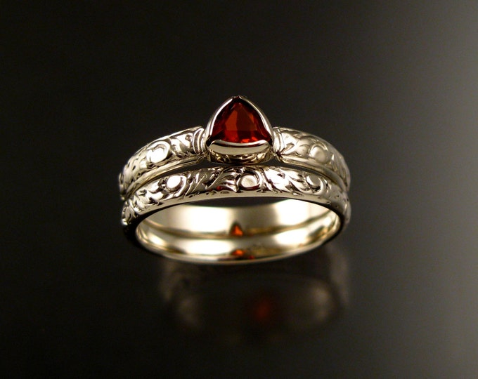 Fire Opal Triangle Wedding set 14k White Gold Victorian bezel set two ring set made to order in your size