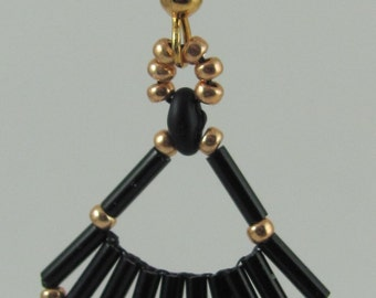Black and Gold Fan Earrings - FANCY!