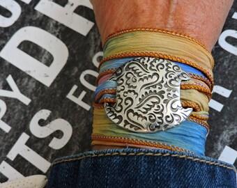 Silk Wrap Bracelet, Boho Jewelry, Cabochon Bracelet, Cabochon Jewelry, Anklet, Glass Jewelry, Wrap Anklet, Gift