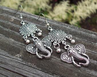 Bali Dangle earrings, Silver earrings, Ganesha Earrings, Boho Bohemian Earrings