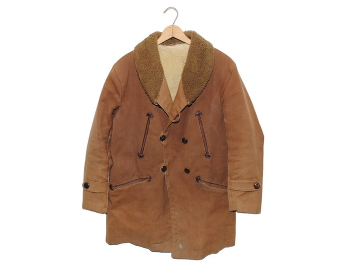Vintage Barnstormer Tan Thick Duck Canvas Fully Lined Shawl Collar Jacket, Made in USA (os-jkt-12)