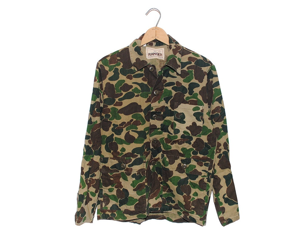 Vintage Ranger Camo 100% Cotton Button Up Hunting Shirt Made in USA - Small