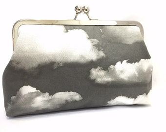 silver linings - 8 inch metal frame clutch purse / large purse/silver/clouds/kisslock