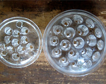 """Two Clear Glass Flower Frogs 4 1/2"""" Domed and 3 1/2"""" Flat"""