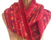 Red Infinity Scarf Knitted Wool