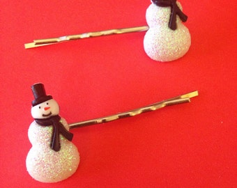 New! Snowman Bobby Pin Set