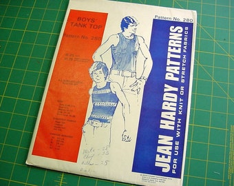 70s Jean Hardy Pattern 280 Boys Tank Tops for Knit Fabrics - Multi Size  X-Sm to X-Lg, 3 -4, 6 -8, 10 -12, 14 -16, 18 -20 Uncut Vintage