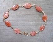 Sunstone Bracelet In 14K Gold Fill, Natural Orange Gemstone,  Copper Schiller,  Handmade Bracelet