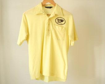 vintage 80s SANDPIPER yellow polo beef & spirits soft sheer thin men's medium shirt button up