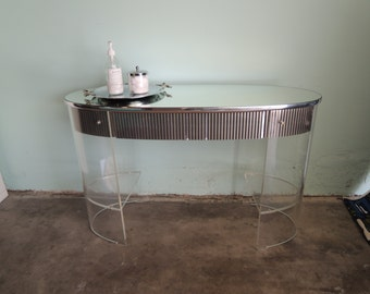 MID CENTURY MODERN Oval Lucite Desk/Vanity/Console (Los Angeles)