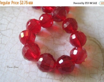 30% OFF SALE Ruby Red Glass Faceted Round 8mm Beads, 30 pcs