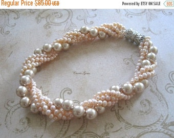 20% OFF ON SALE 4-strand Freshwater Pearl  Necklace, Gemstone Necklace