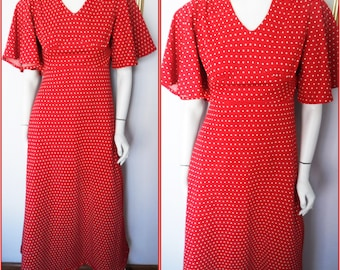 Vtg.70s Red White Polkadot Spotted Flutter Sleeve Maxi Dress by Vicky Vaughn.S.Bust 36.Waist 28.