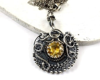 Wire wrapped necklace, yellow citrine pendant, sterling silver jewelry, birthstone necklace