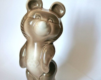 Moscow Olympics 1980 Misha Bear Porcelain China Figurine Communist Sports Propaganda from Russia Soviet Union USSR