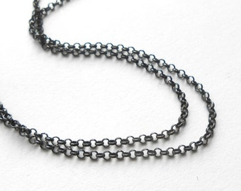 Oxidized Sterling Silver 1.65mm Rolo Chain, Finished Necklace Chain, Choose Length