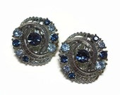 50s Silver Sapphire & Topaz Rhinestone Clip Earrings with Pave Set Chaton Crystals in Textured Metal Motif - Vintage 50's Costume Jewelry