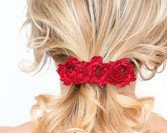 Red  leather flowers french barrette hair clip