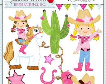 SALE Cowgirl Up Cute Digital Clipart for Commercial or Personal Use, Cowgirl Clipart, Cowgirl Graphics